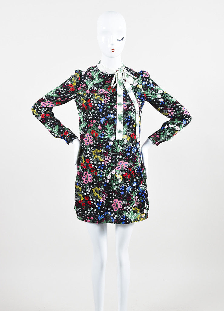 Valentino Black Multicolor Silk Floral Print Drop Waist Dress Frontview