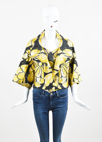 Black & Yellow Vera Wang Floral Print Brocade Cropped Jacket Front 2