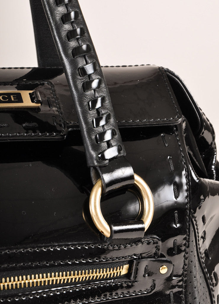 Versace Black Patent Leather Handbag Detail