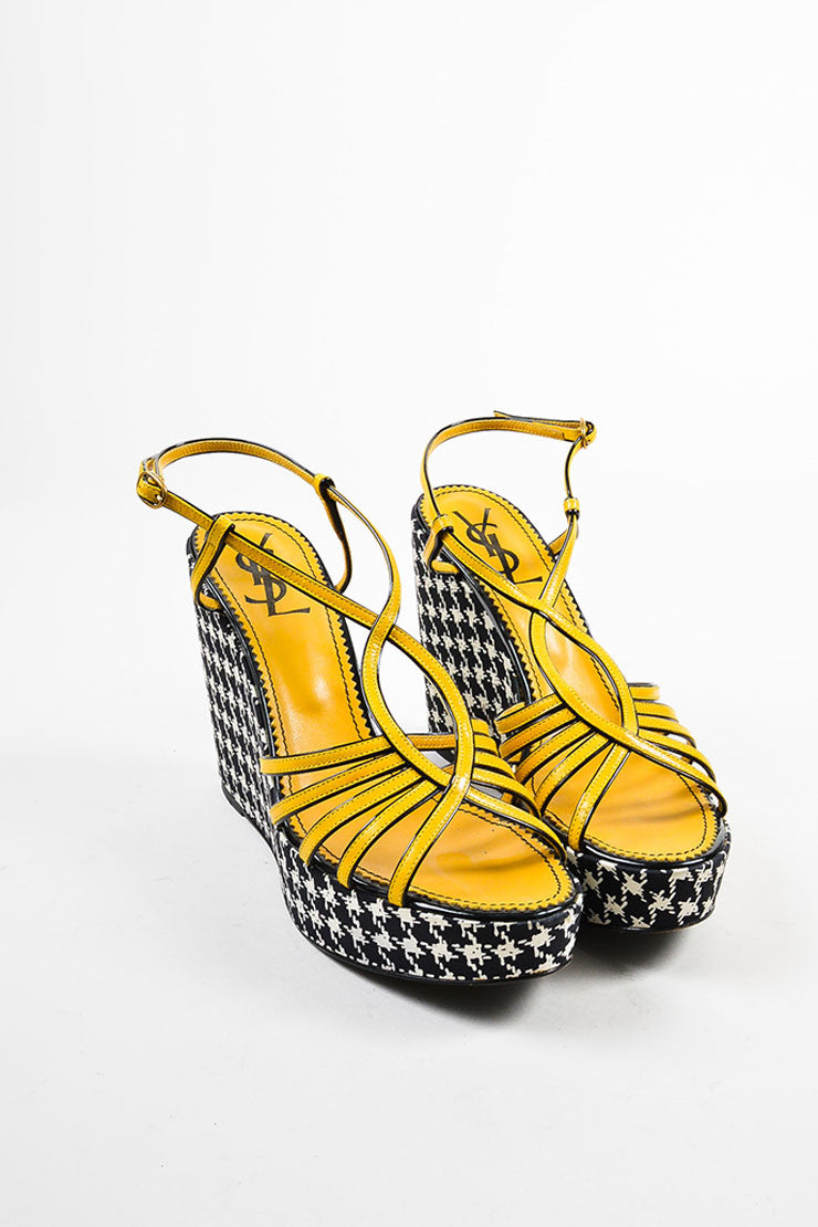 Yves Saint Laurent Black White and Yellow Leather Houndstooth Wedges Frontview