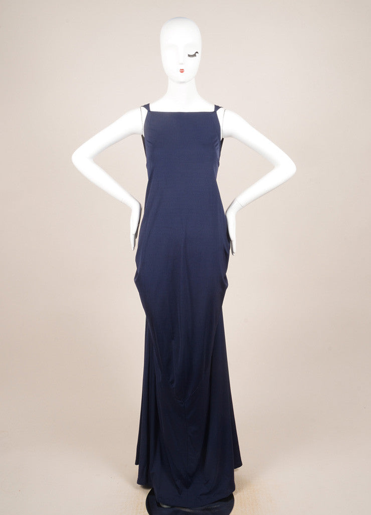 Yves Saint Laurent Blue Sleeveless Draped Gown Frontview
