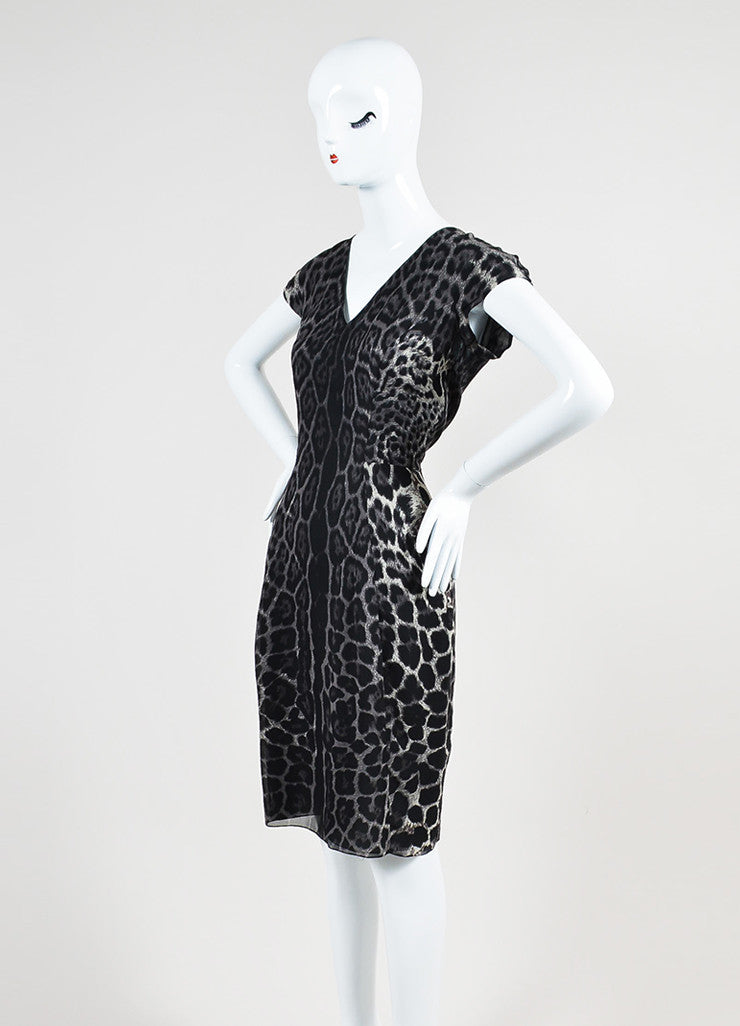 Grey and Black Yves Saint Laurent Chiffon Leopard Print V-Neck Cap Sleeve Dress Sideview