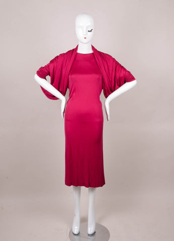 Hot Pink Missoni Silk Long Sleeve Draped Circle Dress