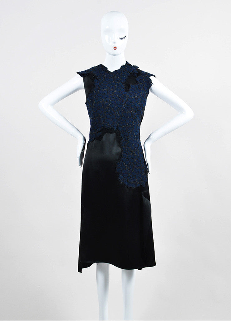 Navy and Black 3.1 Phillip Lim Sateen Lace Overlay Cap Sleeve Dress Frontview