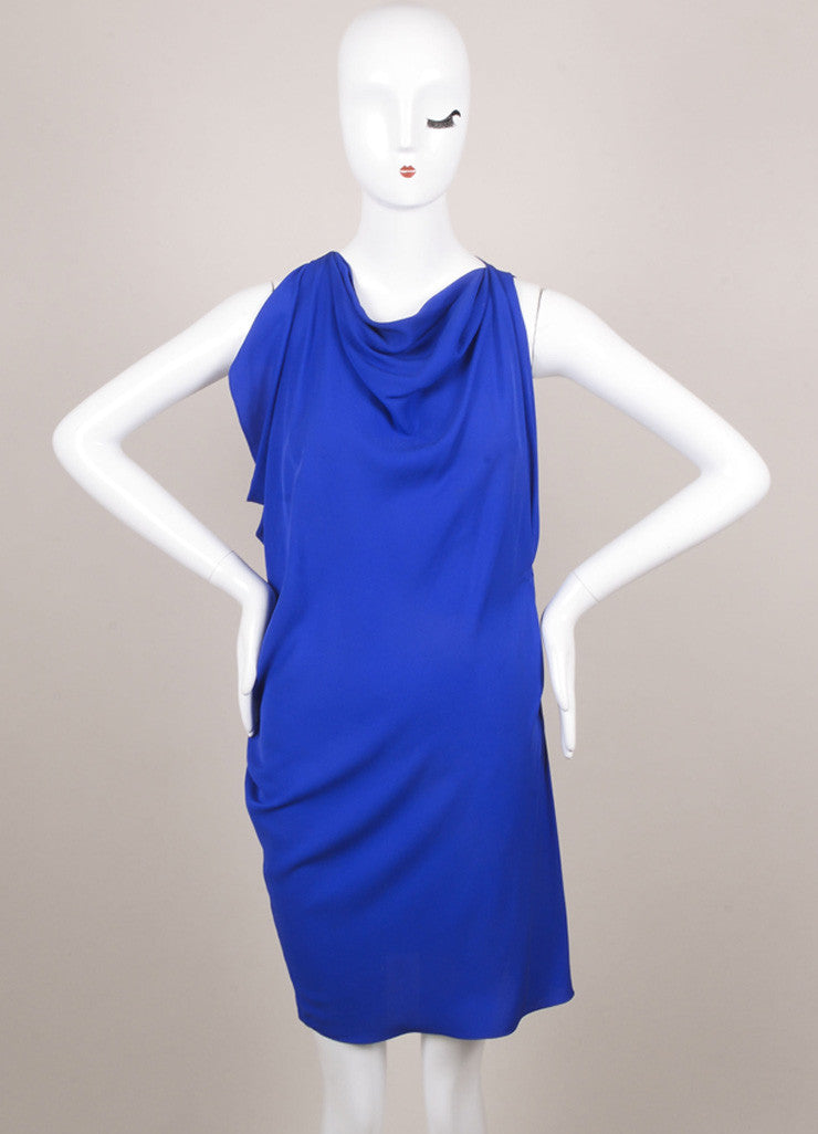 Lanvin Royal Blue Silk Draped Ruched Dress Frontview