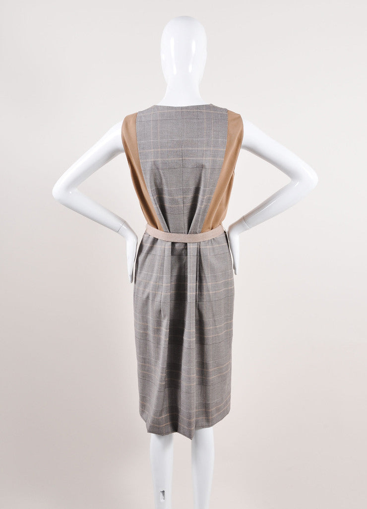 Akris Punto Multicolor Brown Houndstooth Plaid Sleeveless Belted Dress Backview