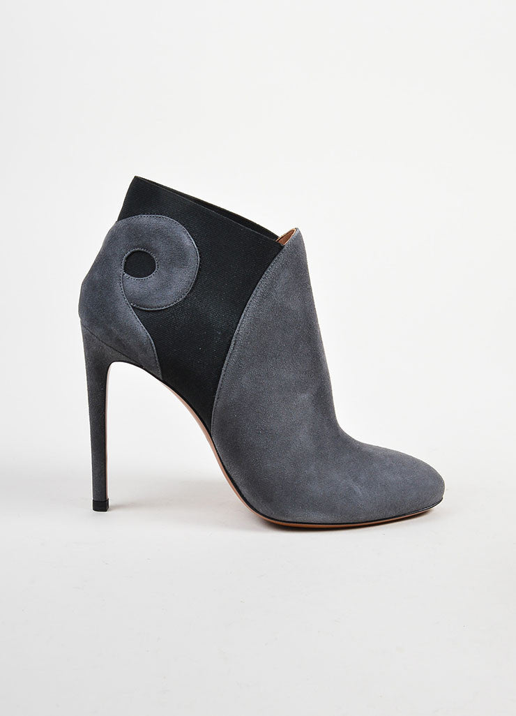 Grey and Black Alaia Suede Leather Swirl Booties Sideview