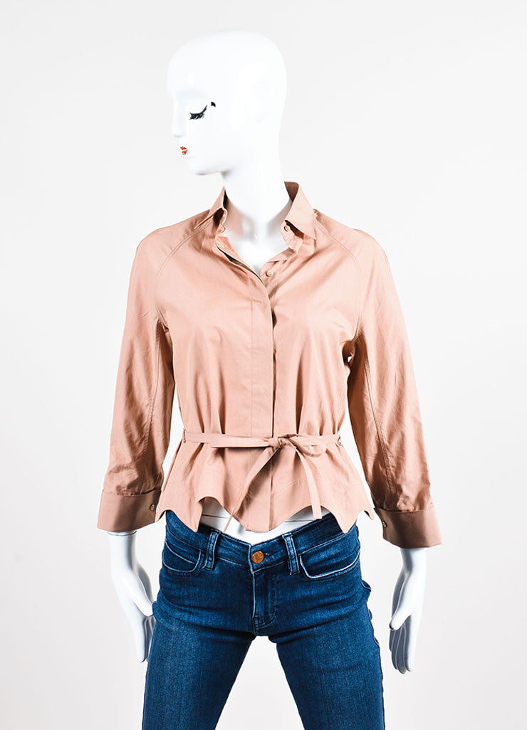 Nude Alaia Cotton Poplin Belted Three Quarter Sleeve Blouse Frontview