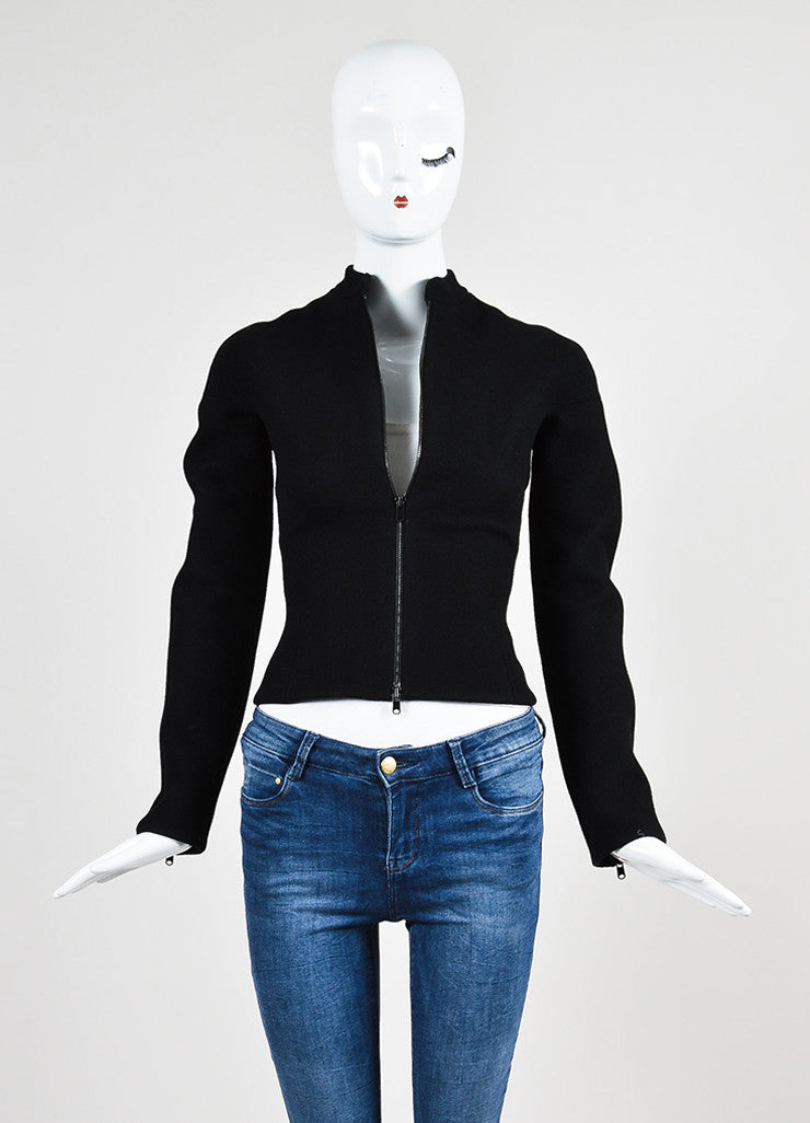 Black Alaia Wool Zip Front Structured Jacket Frontview 2