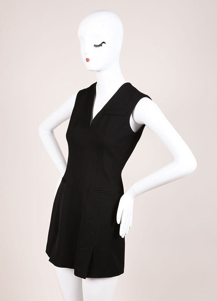 Alexander McQueen Black Sleeveless Wool Mini Suiting Dress Sideview