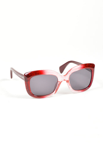 "Red Ombre Translucent Square Cat Eye Alexander McQueen ""4235 S"" Sunglasses Sideview"