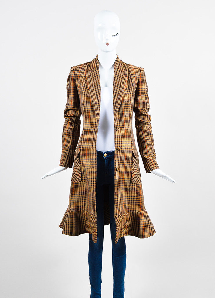 "Brown, Tan, and Orange Altuzarra Houndstooth ""Cooper"" Long Coat Frontview"