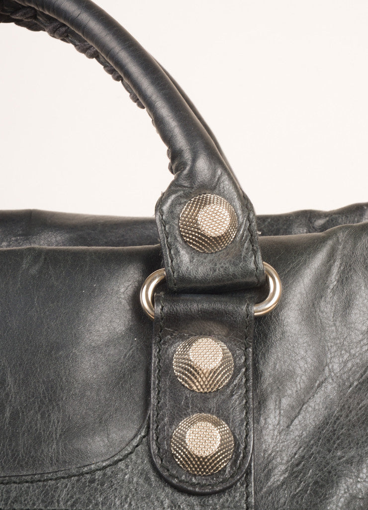 "Balenciaga Black Crinkle Leather Studded ""Arena Work"" Bag Detail 2"