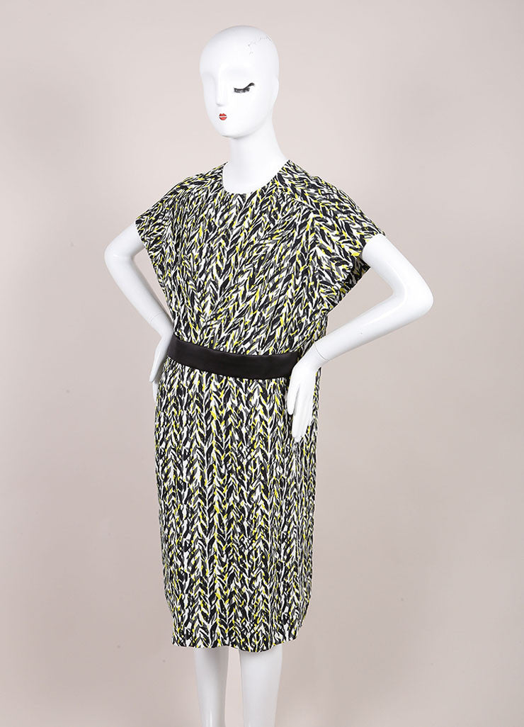 Balenciaga New With Tags White, Black, Neon Yellow Graphic Print Belted Dress Sideview