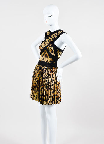 Black and Tan Balmain Leopard Print Sleeveless Mini Dress Sideview
