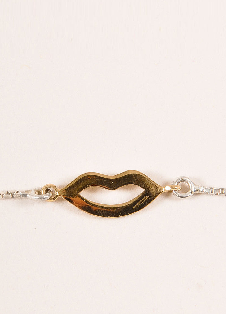 Bernard Delettrez Sterling Silver and Gold Toned Lips Necklace Detail 2