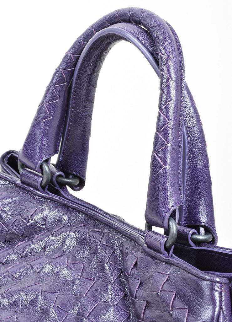 Purple Bottega Veneta Intrecciato Woven Leather Satchel Handbag Detail 2