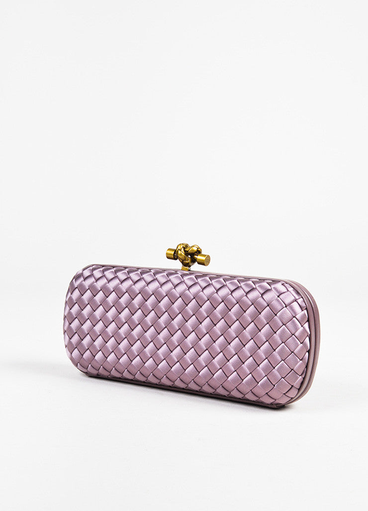 "Bottega Veneta Purple Woven Satin Leather Trim ""The Knot"" Clutch Bag Sideview"