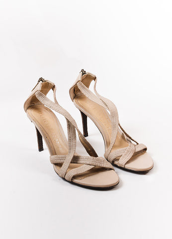 Burberry Beige Leather Ruched Strap Sandal Heels Frontview