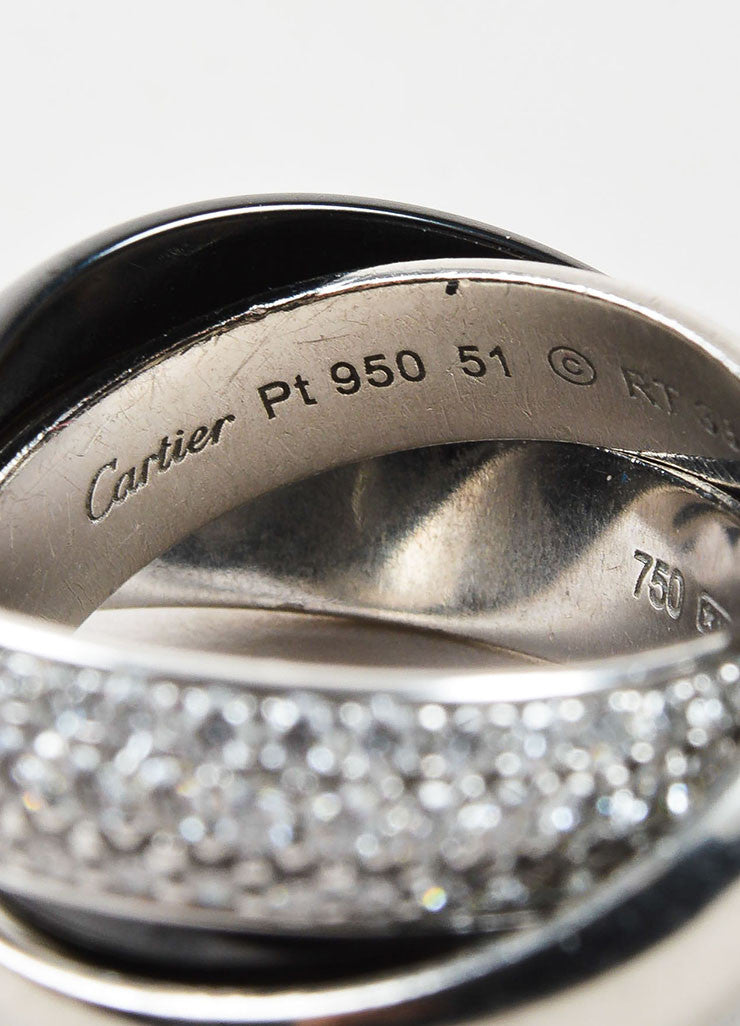 "Cartier 18K White Gold, Ceramic, Platinum, and Diamond ""Trinity de Cartier"" Ring Brand"
