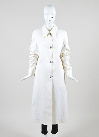 Celine Cream Poplin Full Length Flip Lock Long Sleeve Trench Coat Frontview 2