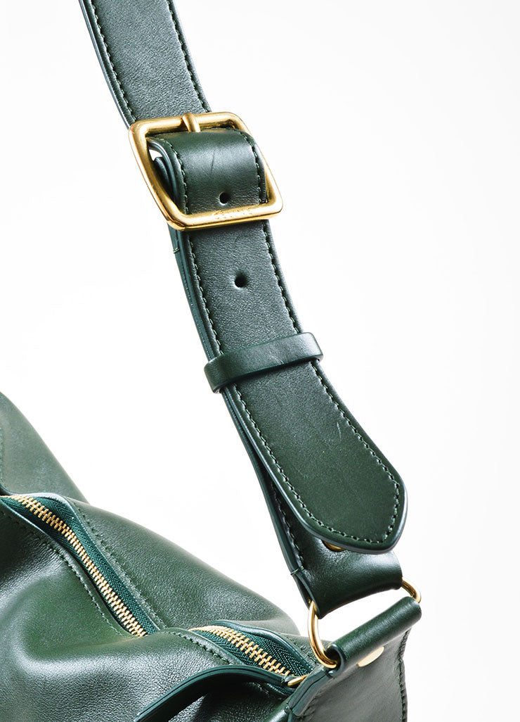 Green Leather Celine Zip Flat Shoulder Bag Strap