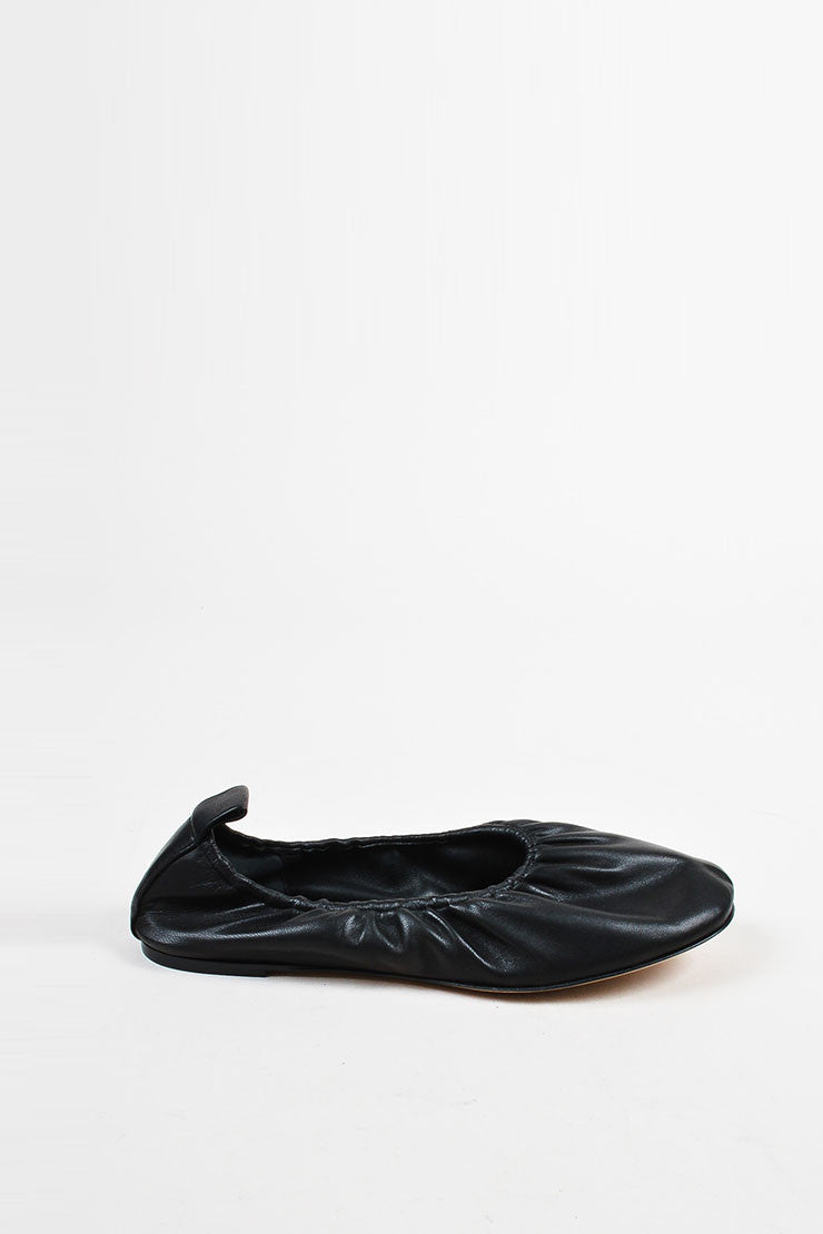 Celine Black Leather Elastic Classic Ballerina Flats Sideview