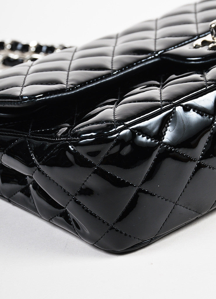 "Chanel Black Patent Leather Quilted ""Classic Medium Double Flap"" Bag Detail 2"