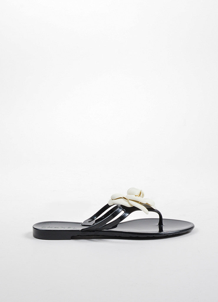 Chanel Black, Cream, and Gold Toned Rubber Camellia Flower Thong Sandals Sideview