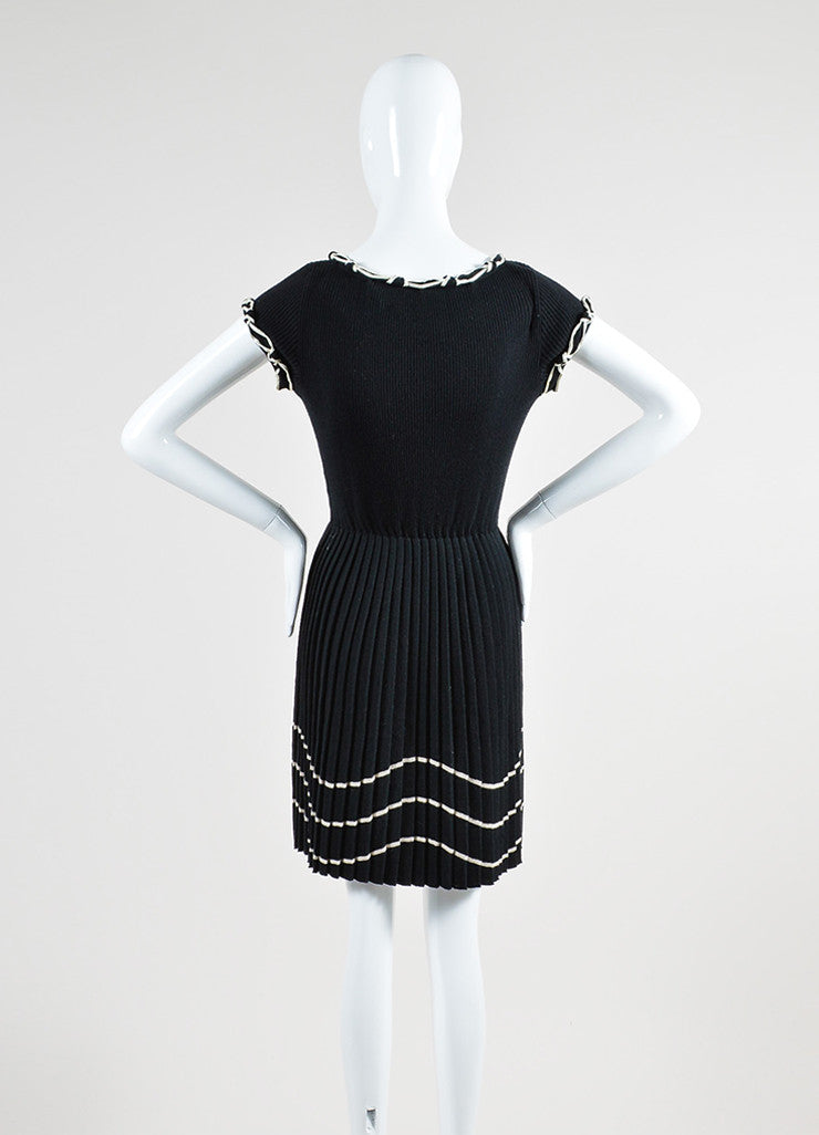 Black and Cream Chanel Wool Pleat Satin Trim Cap Sleeve Flare Dress Backview