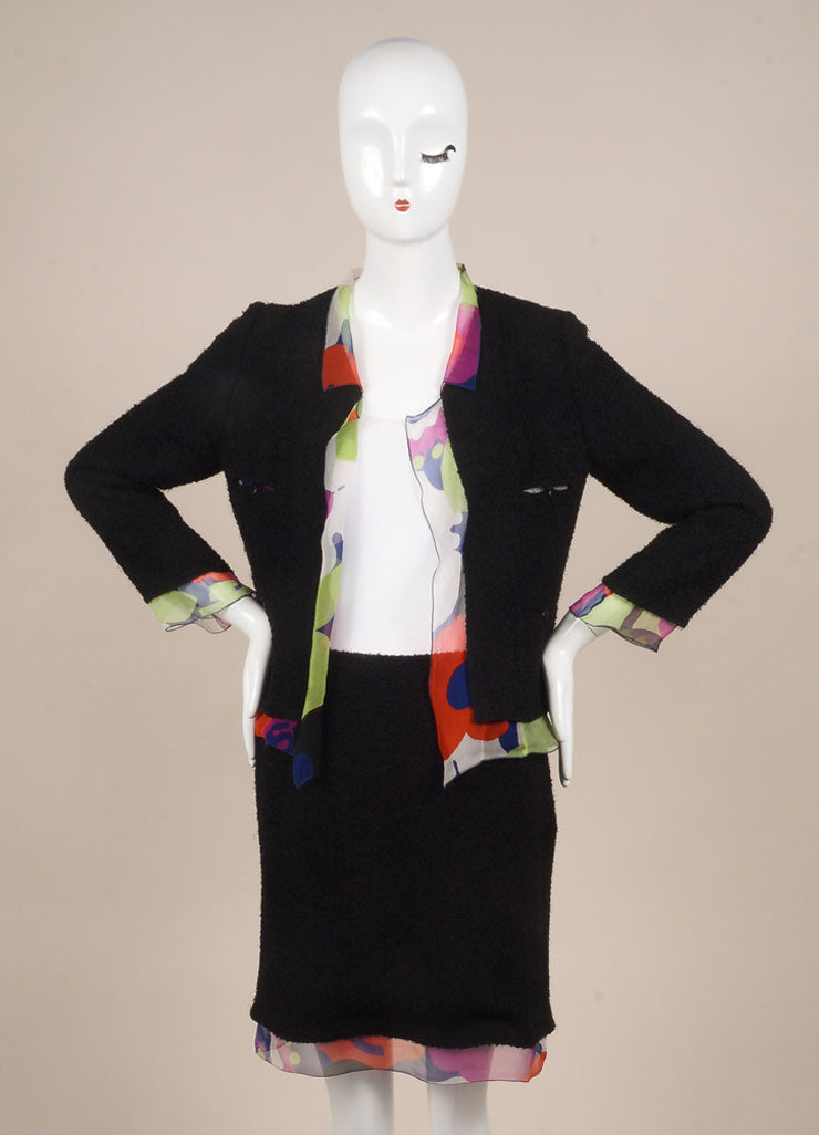 Chanel Black and Multicolor Printed Silk Trim Wool Blend Skirt Suit Frontview