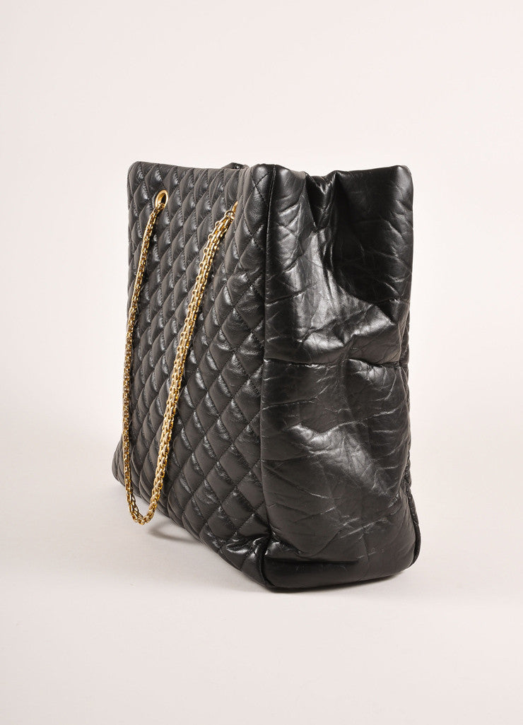 "Chanel Black Quilted Aged Calfskin ""CC"" Chain Shoulder Bag Sideview"