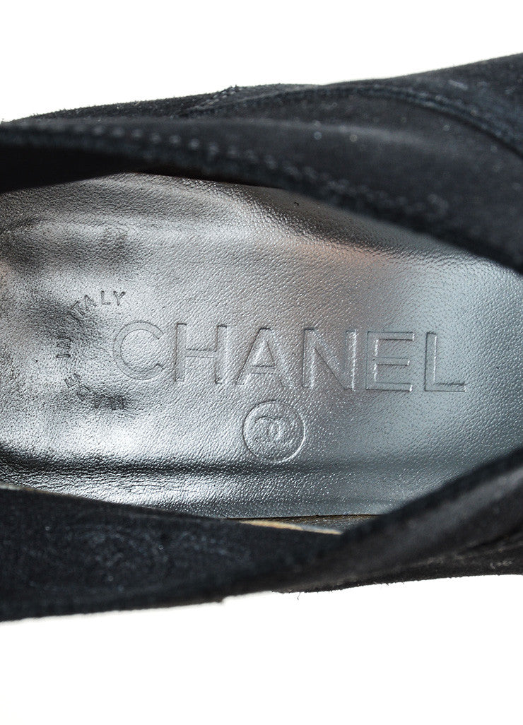 Chanel Black Suede 'CC' Stitched Low Chunky Heel Ankle Boots Brand