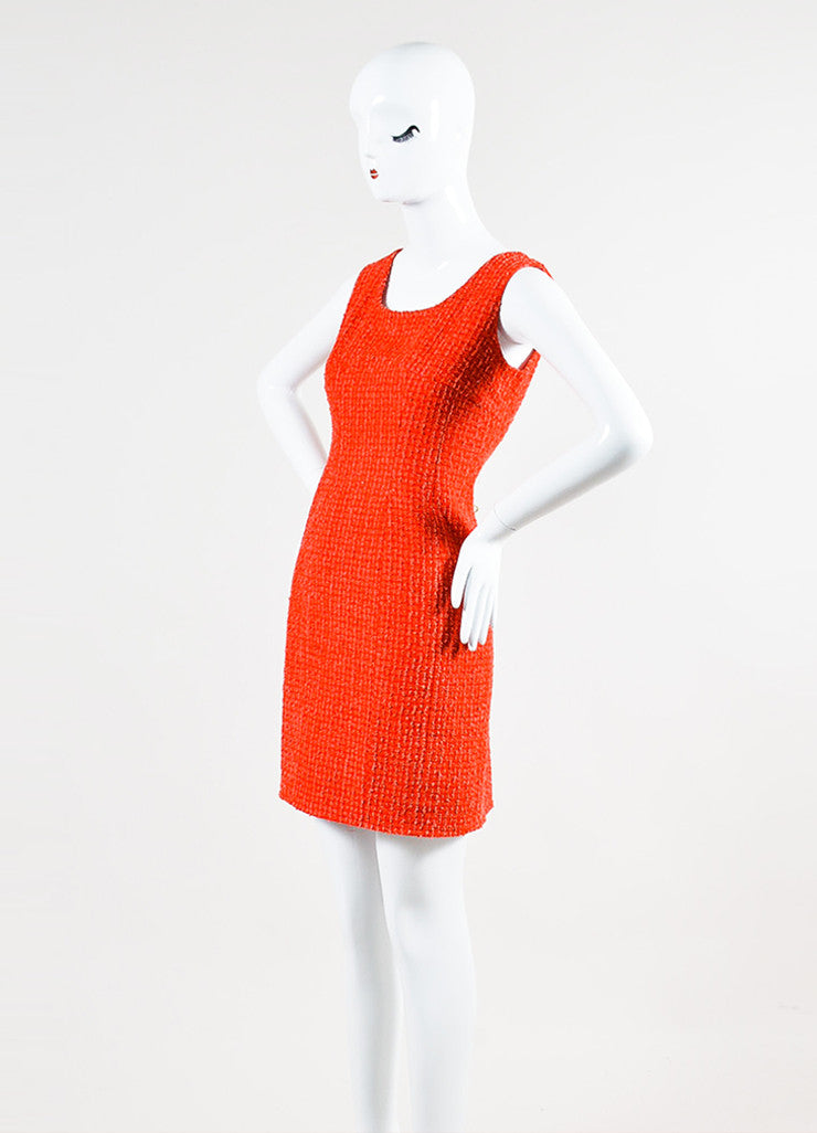 Red and Pink Chanel Boucle Tweed Sleeveless Sheath Dress Sideview