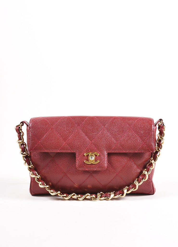 Chanel Burgundy Red and Gold Toned Caviar Leather Quilted Classic Flap Bag Frontview