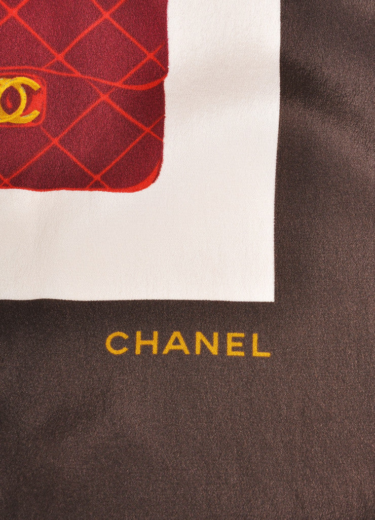 Chanel Cream, Brown, and Red Quilted Bags Print Silk Scarf Brand