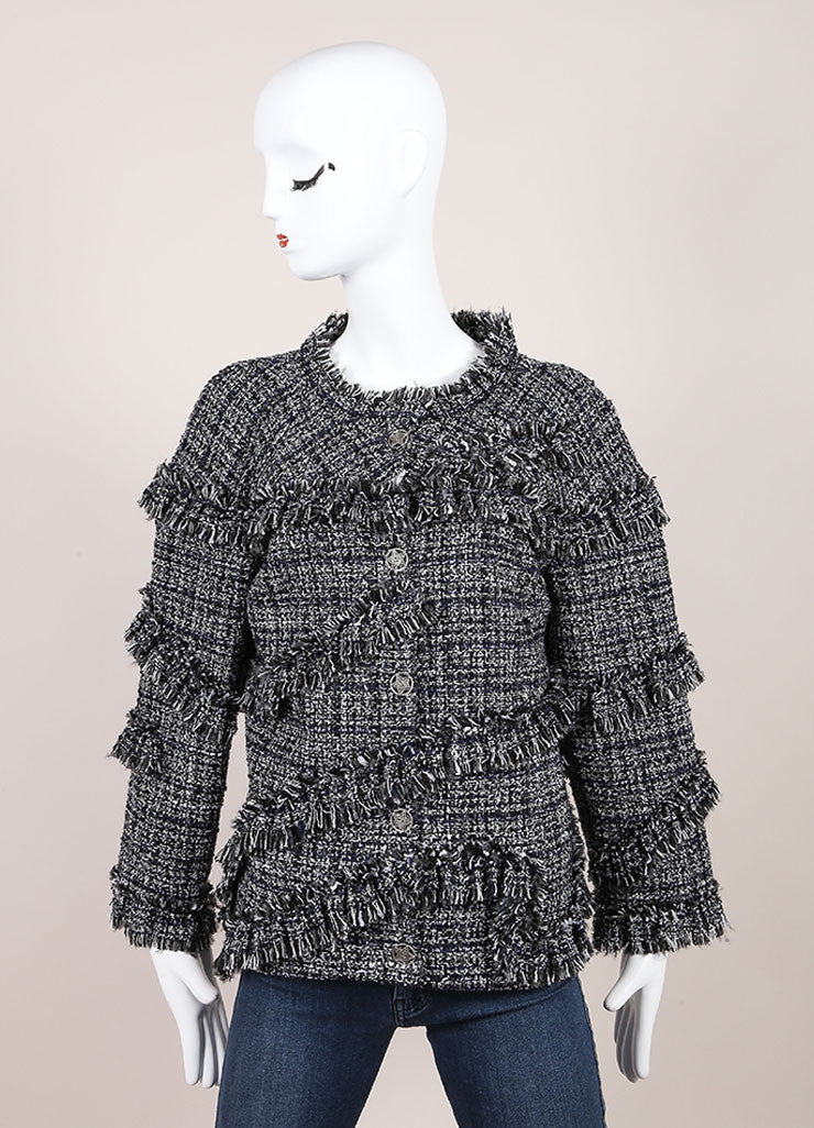 Chanel Black and White Boucle Fantasy Wool Tweed Jacket Frontview