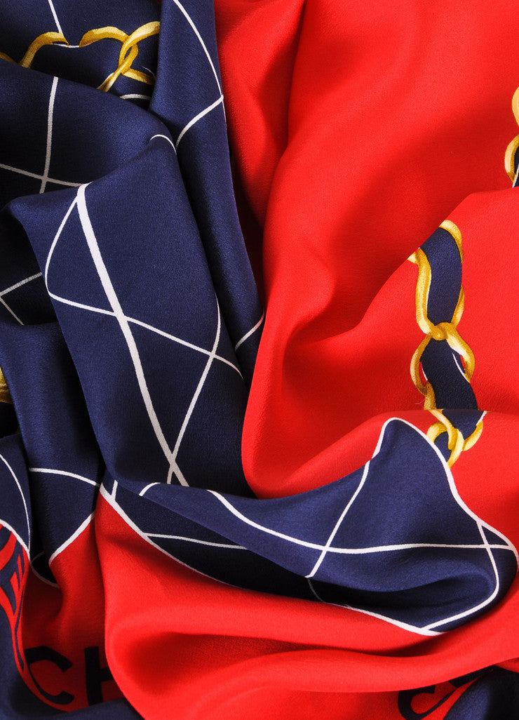 Chanel Navy, Red, and Gold Quilted Flap Bag Printed Silk Scarf Detail