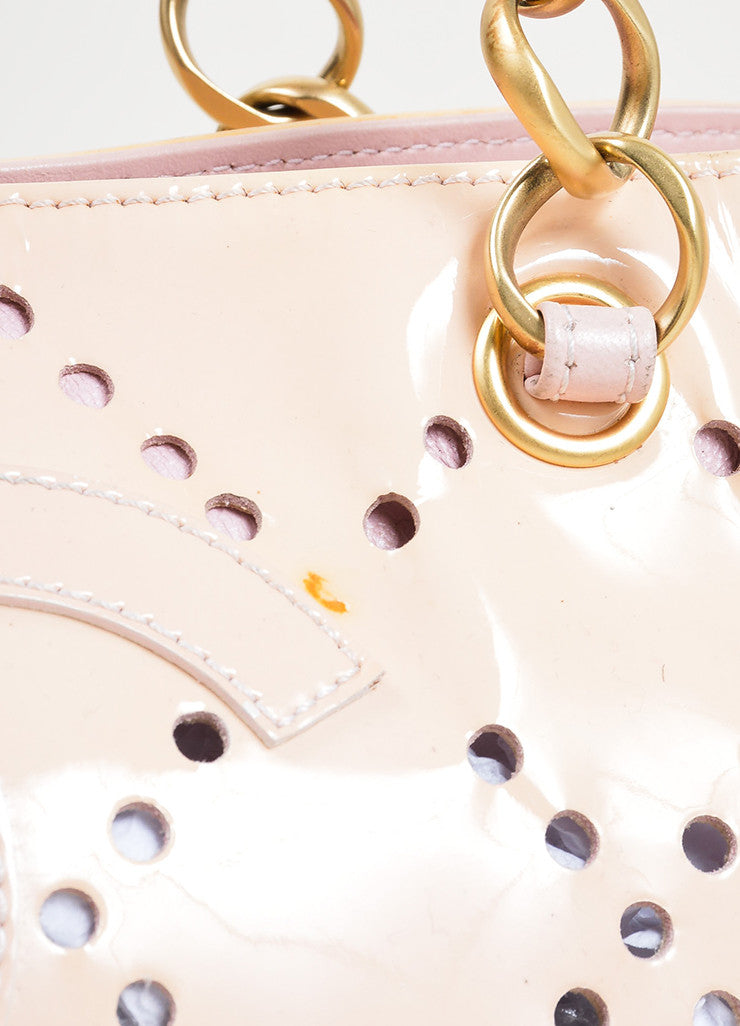 Nude Blush Chanel Patent Leather Perforated 'CC' Chain Tote Bag Detail 2