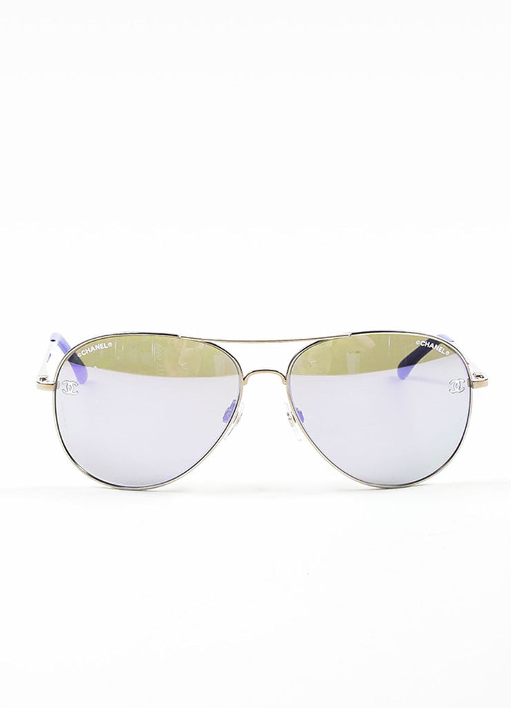 "Silver Toned and Purple Metal Chanel ""4189T"" Aviator Sunglasses Frontview"