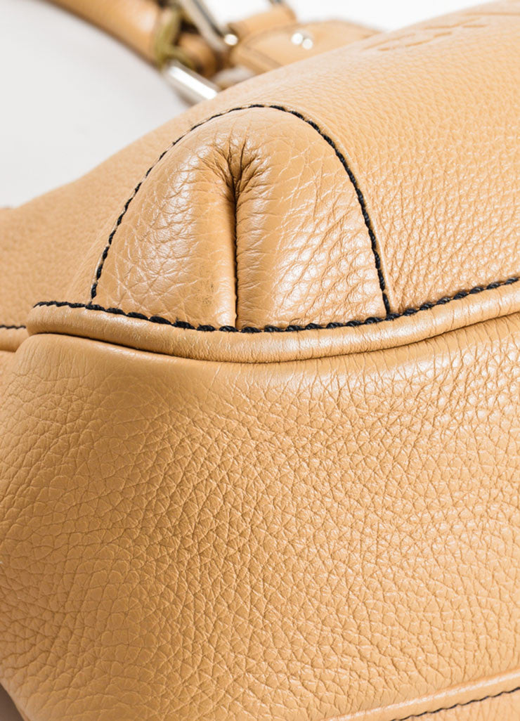 "Chanel Tan Grained Leather ""CC"" and Tassel Side Zip Medium Tote Bag Detail"