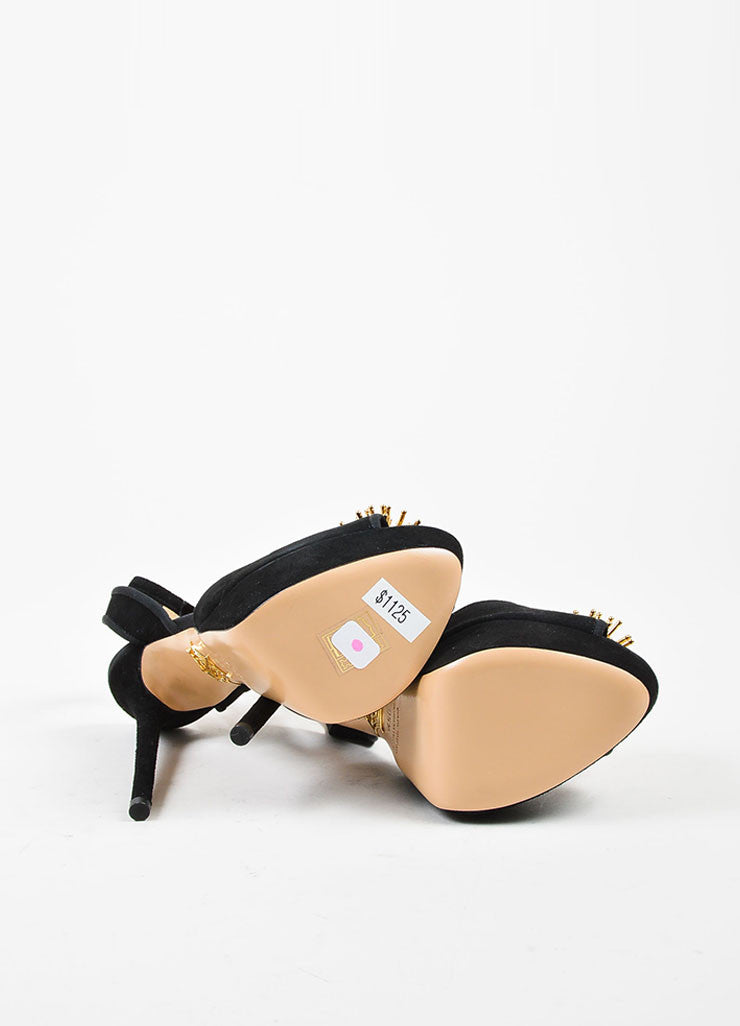 "Black and Gold Suede Charlotte Olympia ""Orbital Pomeline"" Sandals Outsoles"