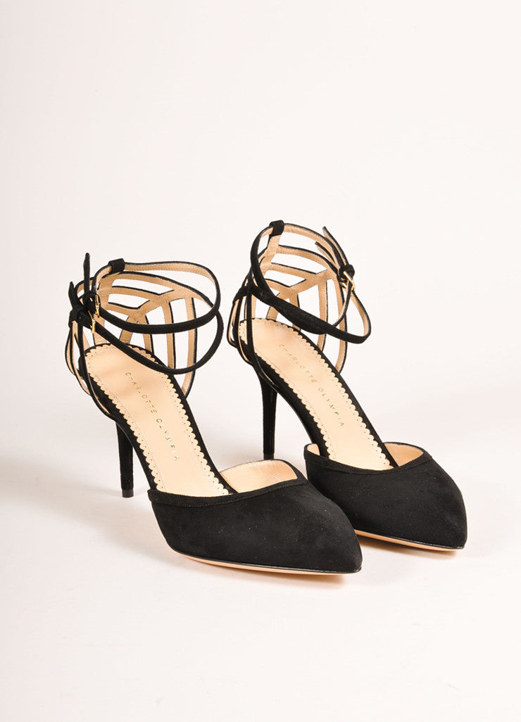 "Charlotte Olympia New In Box Black Suede Leather Web Back ""Aranea"" Pumps Frontview"