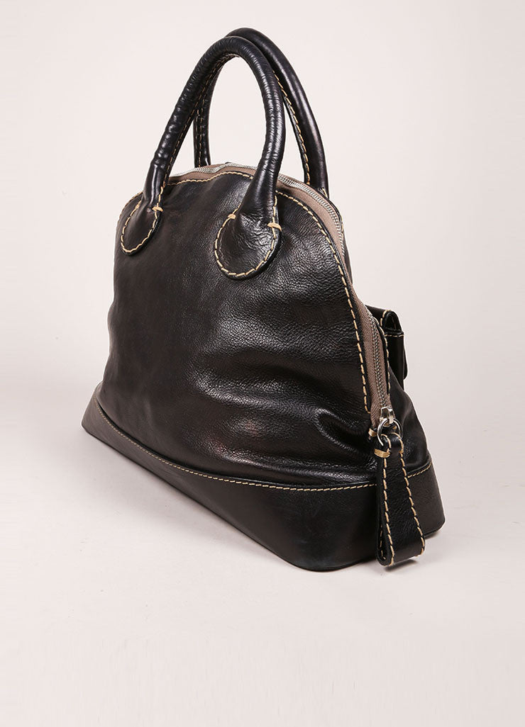 Chloe Black Grain Leather Oversized Embroidered Tote Bag Sideview