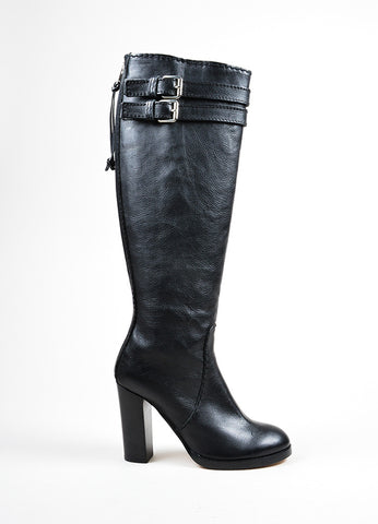 Black Chloe Leather Knee High Heeled Harness Boots Sideview