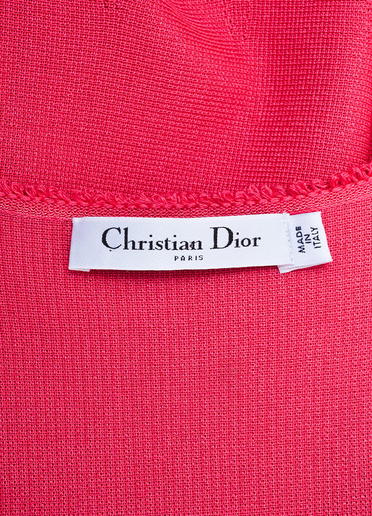 Pink Christian Dior Silk and Cotton Knit Sleeveless Fit and Flare Dress Brand