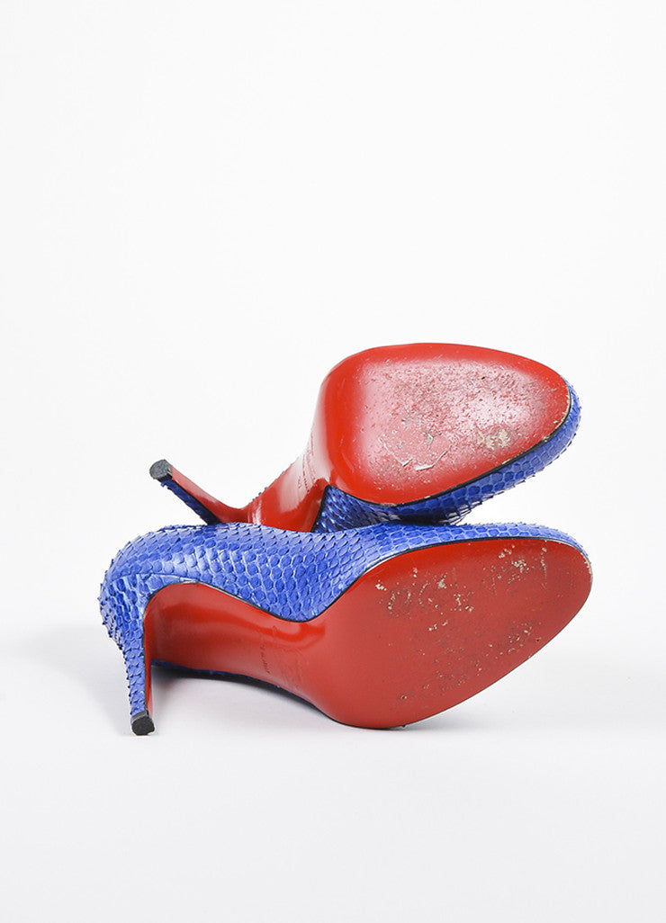"Christian Louboutin Blue Python Round Toe ""Simple"" Pumps Outsoles"