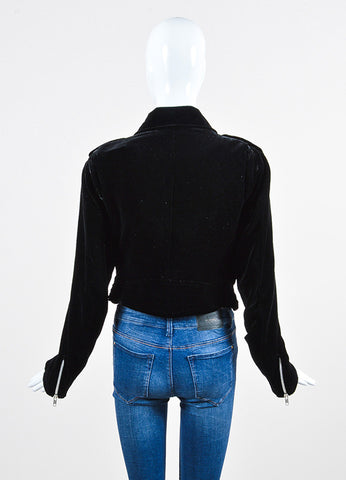 Christopher Kane Black Velvet Long Sleeve Moto Jacket Backview