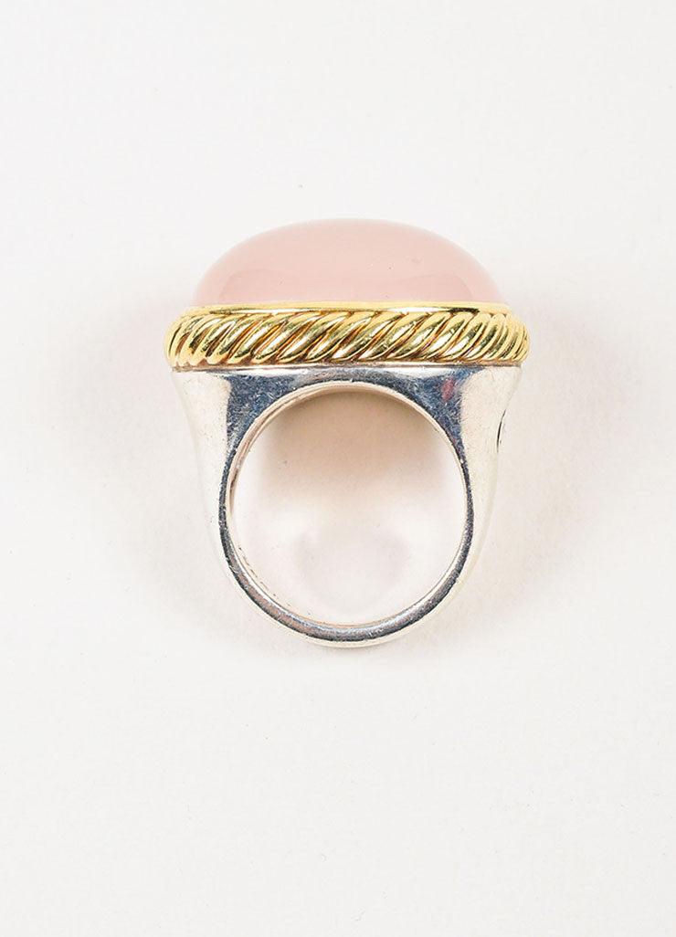 David Yurman Sterling Silver, 18K Yellow Gold, and Rose Quartz Cocktail Ring Topview
