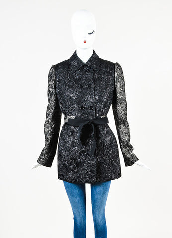 Dolce & Gabbana Black and Gunmetal Metallic Brocade Wool Blend Coat Frontview